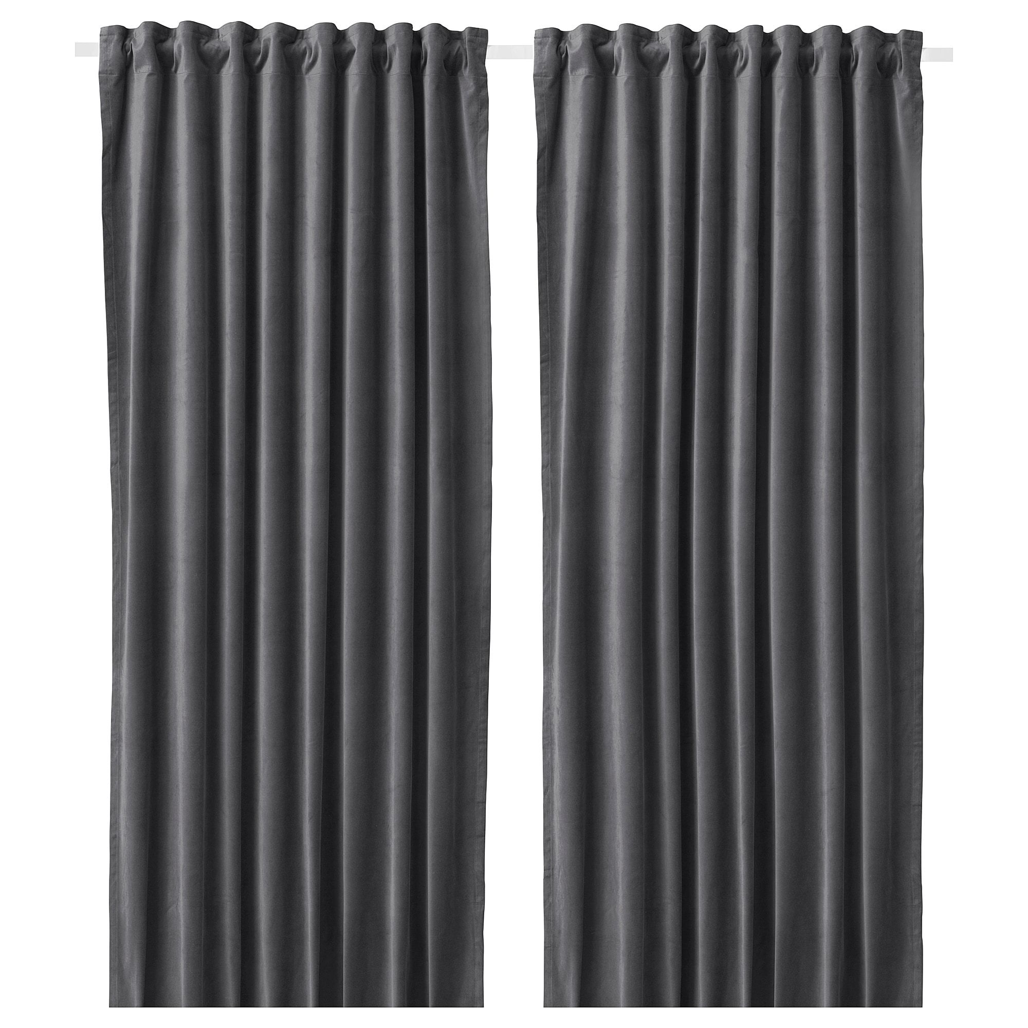 Sanela Room Darkening Curtains 1 Pair Dark Gray 55x98 Ikea