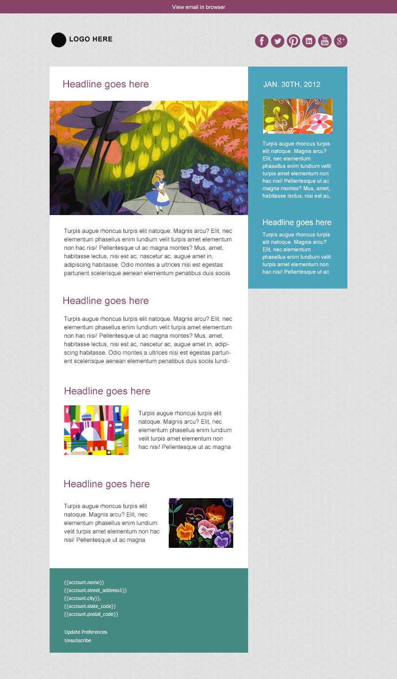 Color blocks email newsletter template a simple modern for Modern newsletter design