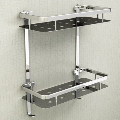 Modern Senior 304 Stainless Steel Silver Bathroom Shelf Corner Basket Rack 2 Layer Triangle Bathroom Acce Washroom Design Bathroom Shelves Bathroom Accessories