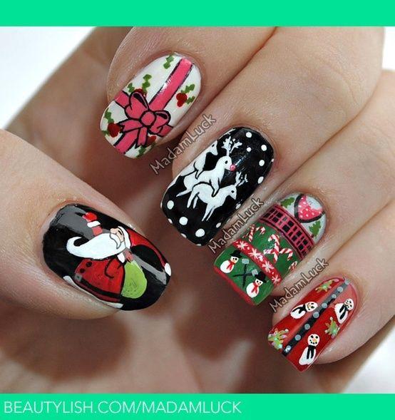 ms de nuevas uas decoradas de navidad decoracin de uas manicura y nailart uas pinterest arte uas arte de uas de navidad y fotos