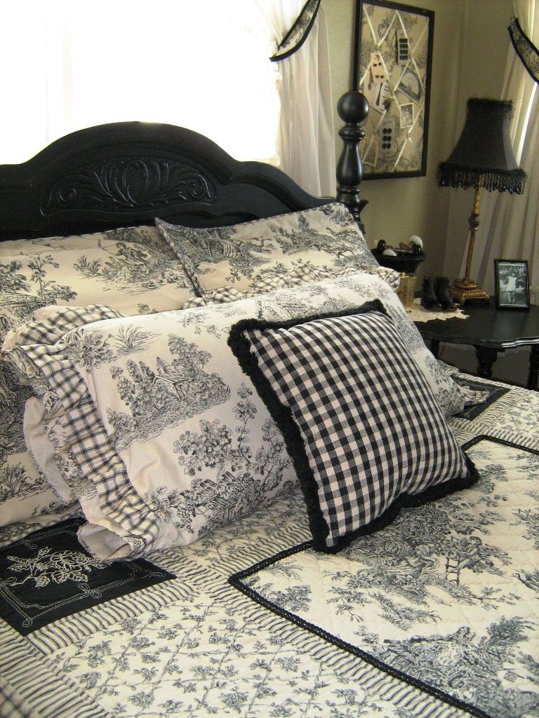 Blue and white toile bedding - Black And White French Country Bedroom