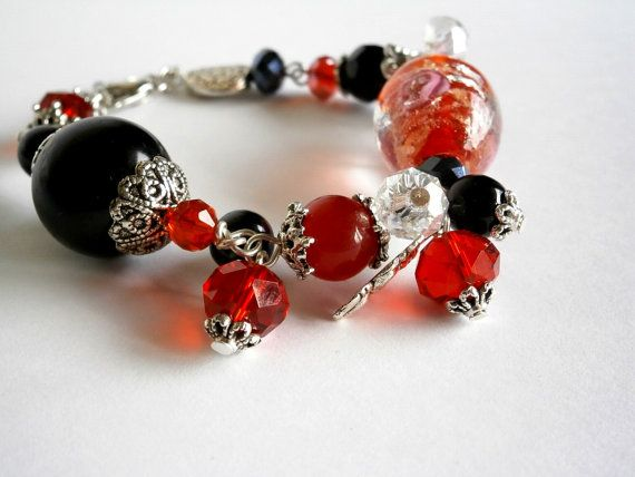 Bracelet Black and Red bracelet  Rose Murano Glass by NataliStudio, $10.00