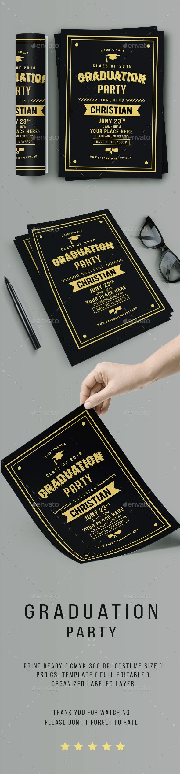 Vintage Graduation Invitation | Vintage, Font logo and Card templates
