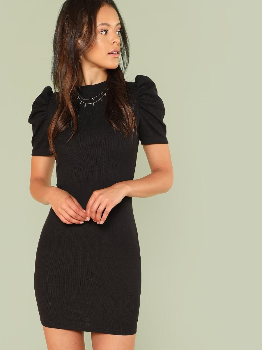 Puff Sleeve Solid Dress Shein Sheinside Fashion High Fashion Street Style Casual Dresses [ 1199 x 900 Pixel ]