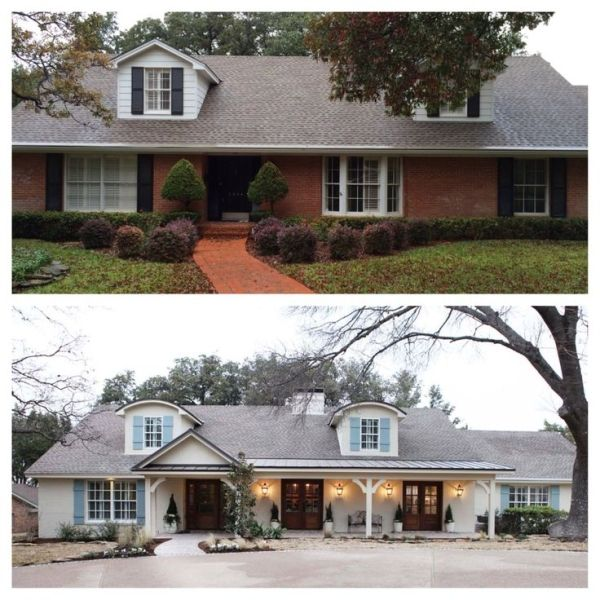How to transform a tired red brick boring ranch home exterior. This ...