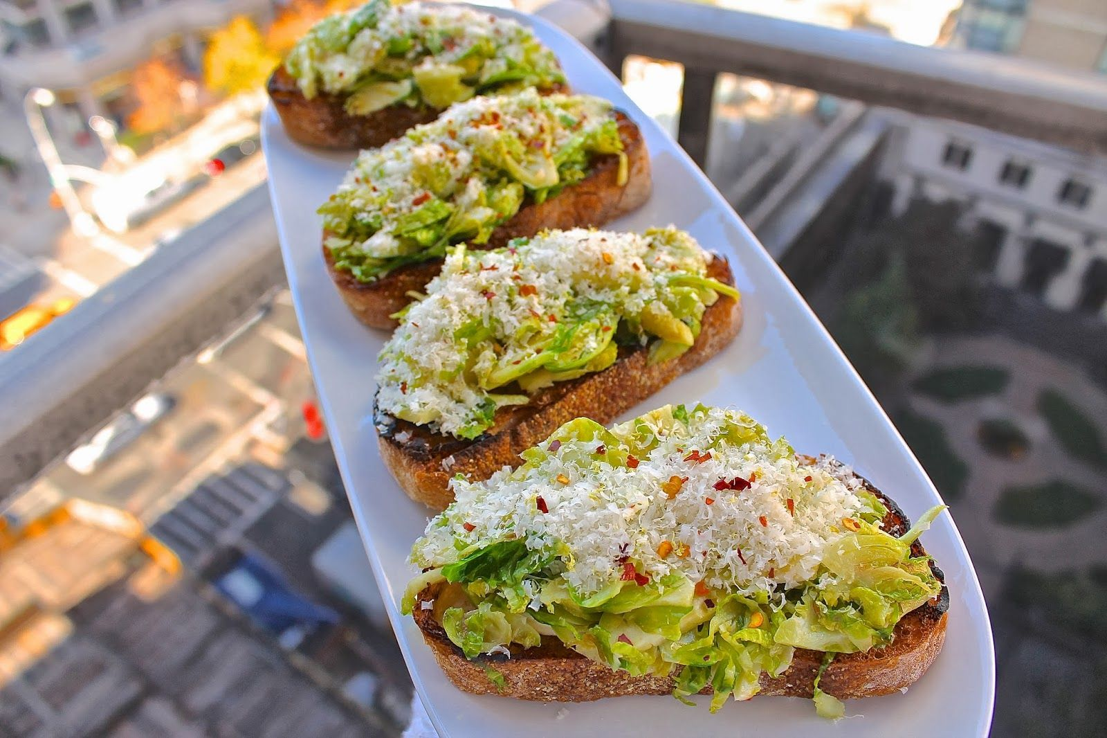 Shaved Brussels Sprout Bruschetta | Beyond My Recipes