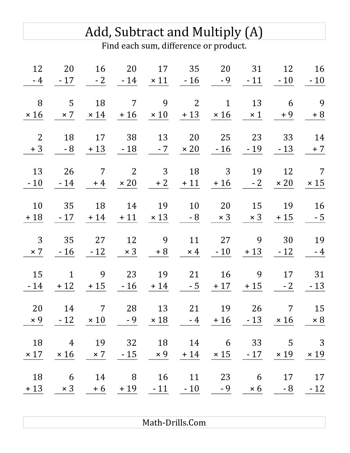 The Adding Subtracting And Multiplying With Facts From 1 To 20 A Math Worksheet From The