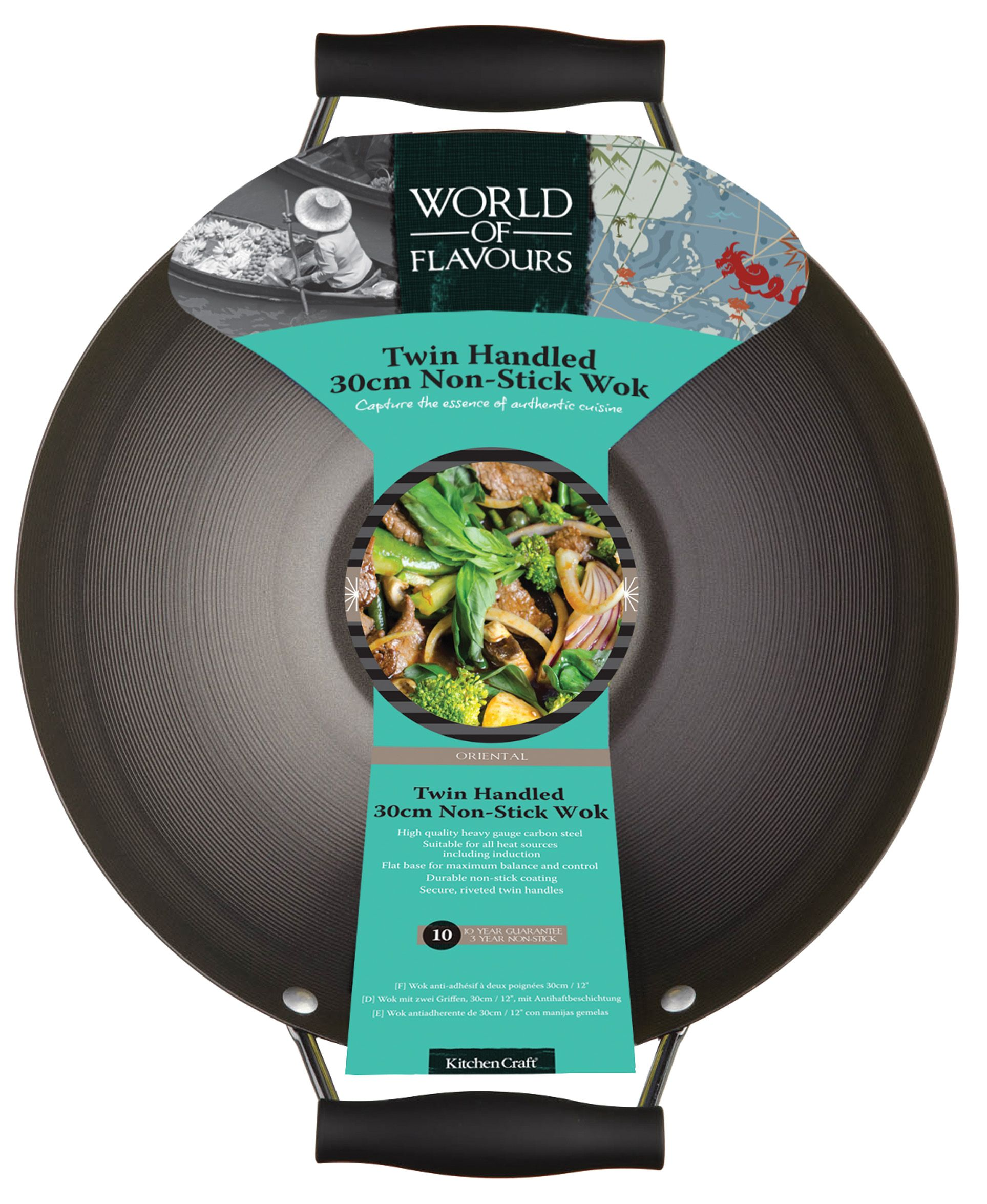 WORLD OF FLAVOURS ORIENTAL DOUBLE HANDLED CARBON STEEL 30CM WOK ...