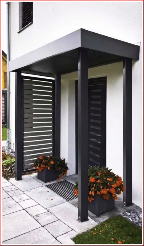 Pin By Zofia Rosa On Living House With Porch Front Door Canopy House Exterior