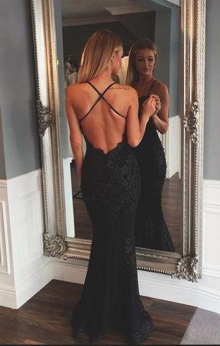 black lace prom evening dress,mermaid prom dress,criss-cross prom dress