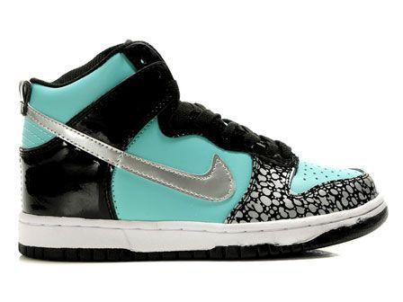 Fake Tiffany Blue Nikes Dunks High GS Diamond Custom Black Womens  45.45 6fa48d144a