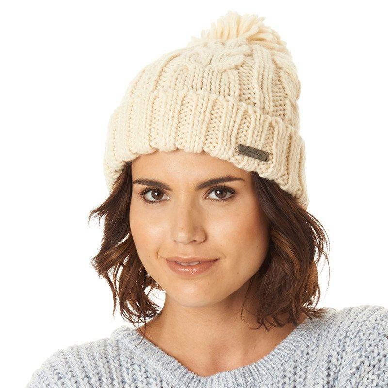 Firetrap Womens Cable Knit Bobble Hat Cream  309c65f03