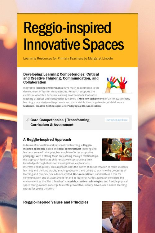 Innovative Classroom Resources ~ Reggio inspired innovative spaces learning resources for
