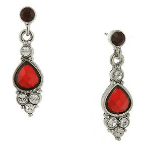 1928 Silver-Tone Red and Crystal Pearshape Drop Earrings