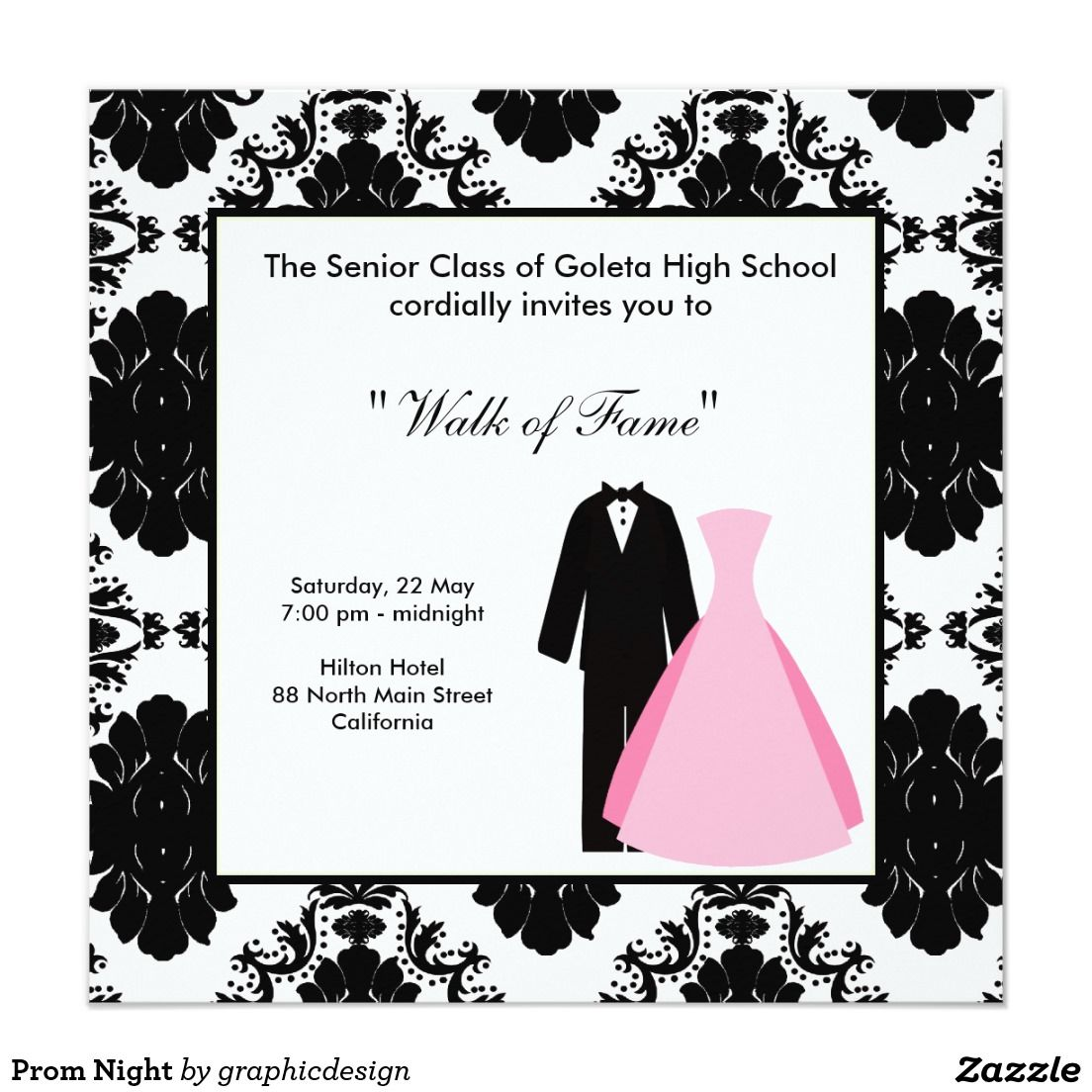 Prom night 525x525 square paper invitation card abschlussklasse prom night 525x525 square paper invitation card stopboris Image collections