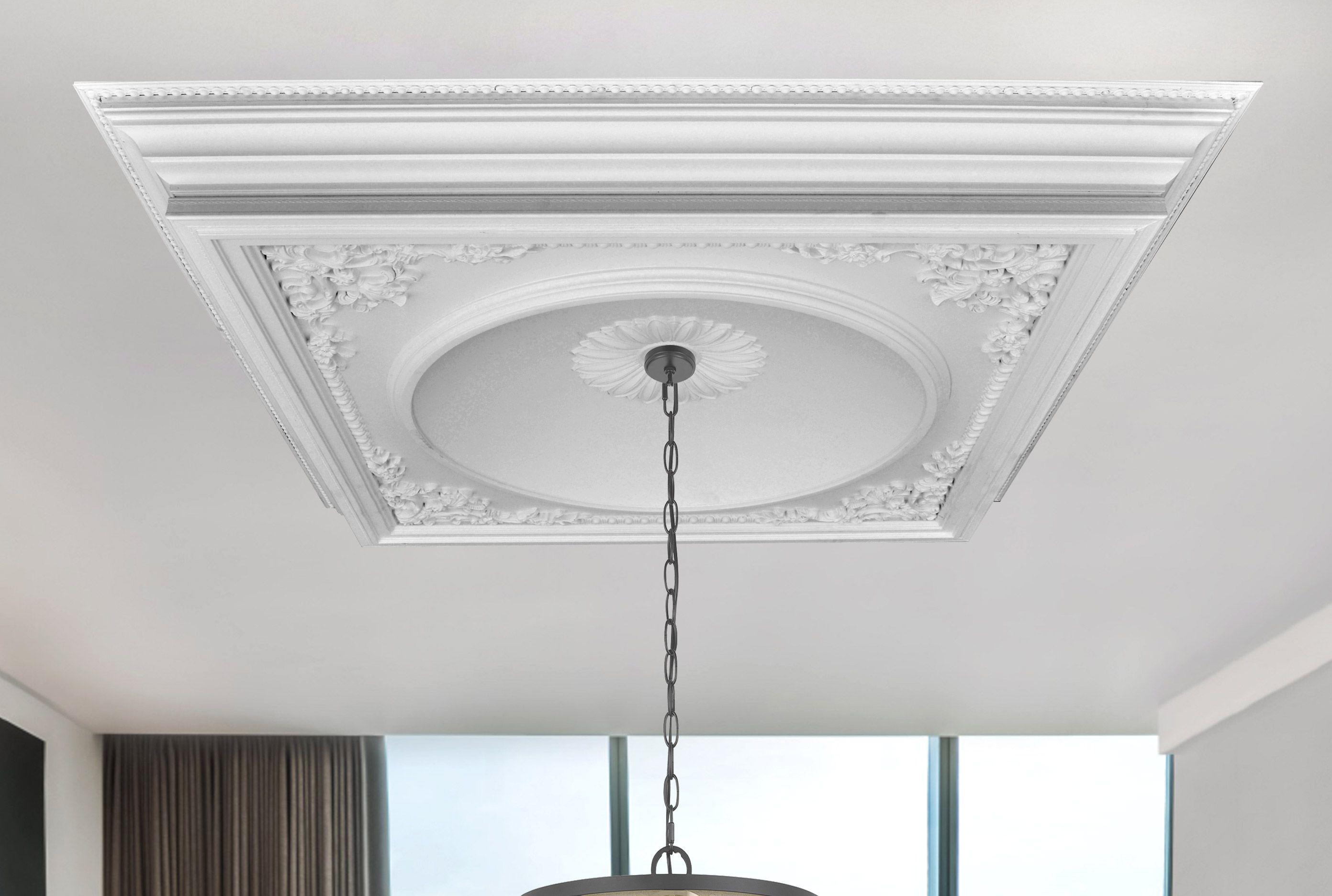 64 Dia White Modern Ceiling Fan Lighting Medallion Diy