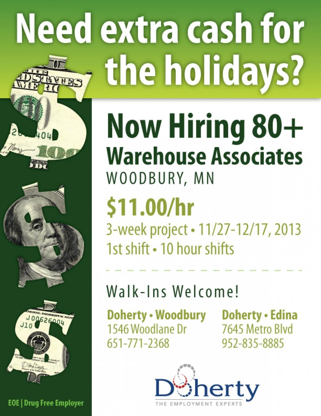 Now hiring 80+ warehouse associates in Woodbury! First