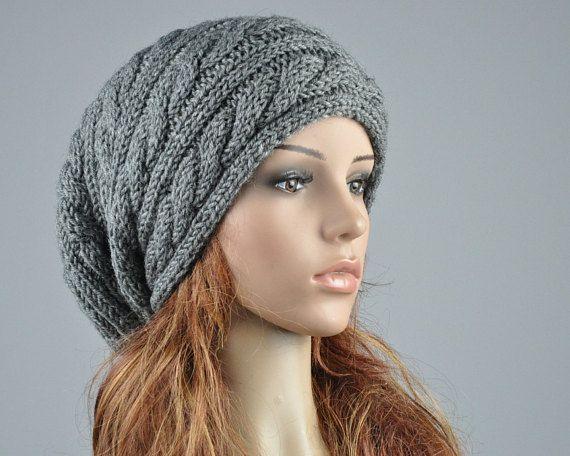 Hand knit hat woman men unisex Charcoal hat slouchy hat cable beret ...