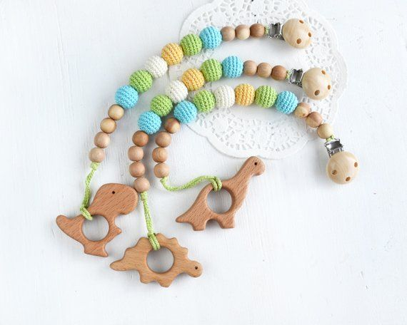Dummy Chain Holder Silicone Baby Pacifiers Clip Wooden Toys G