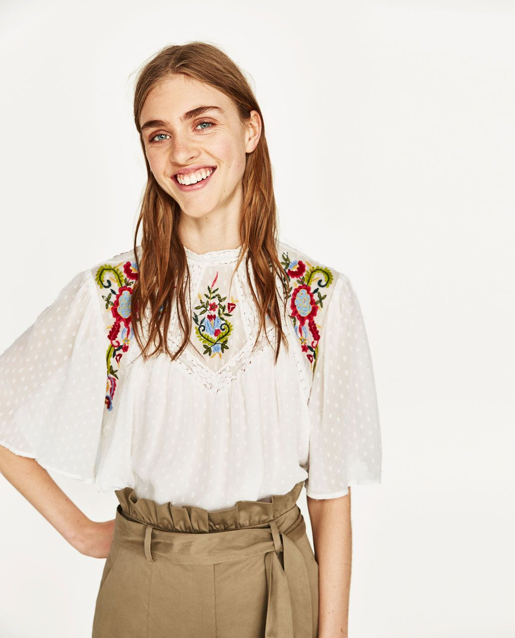 d74cdf75 Zara Dotted Mesh Blouse With Embroidery