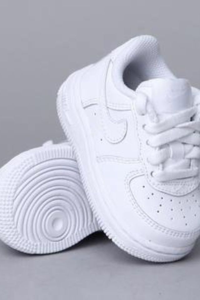 Cute fresh white Nikes for baby boy or girl