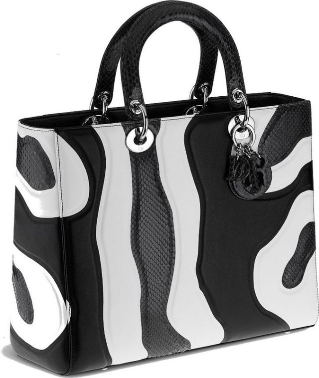 0690b50358da2 Splurge  Karrueche Tran s Lunch Date Dior Black White Calfskin Ayers Lady  Dior Large Bag