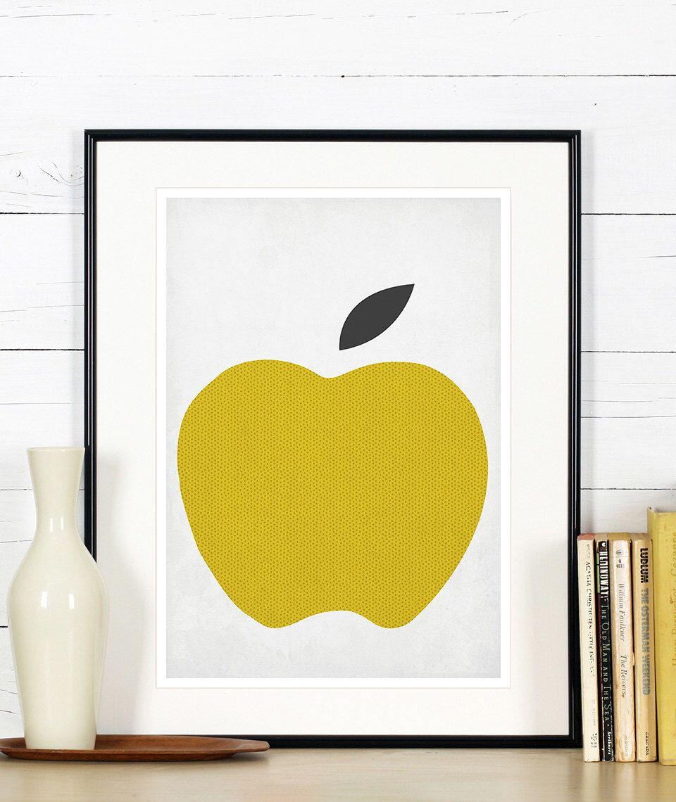 Fruit retro poster, kitchen art, apple, minimalist design, kitchen ...