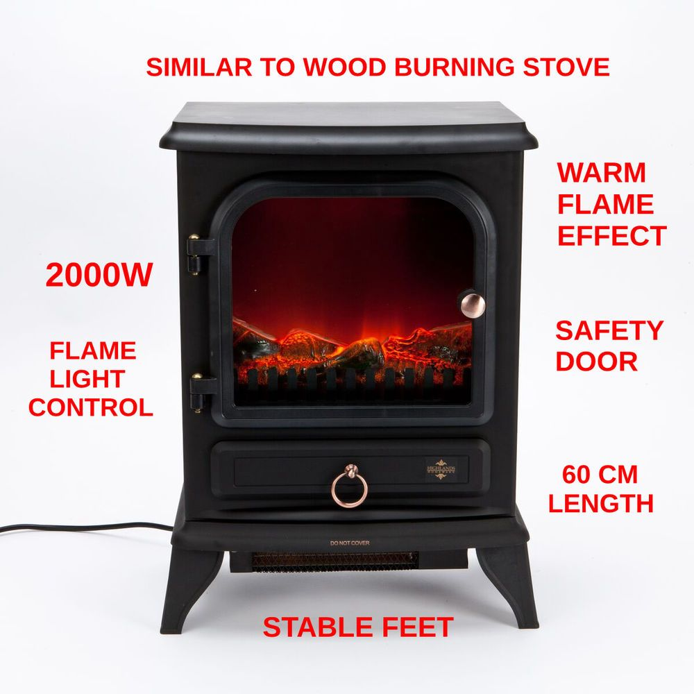 Details About 2000w Log Flame Effect Stove Electric Heater Fire