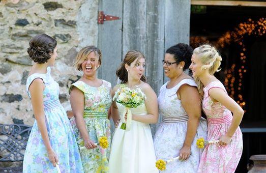 Boat Neck, Bridesmaid Dresses, Floral Print, Lavender