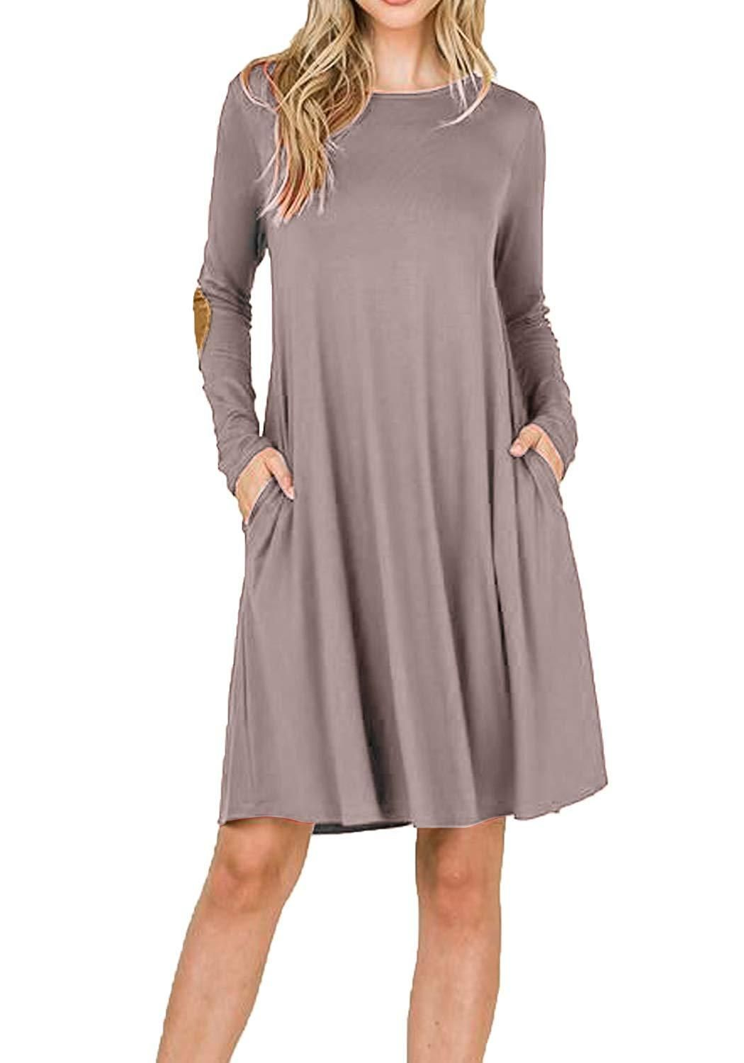 a6f14b5779585 LAINAB Women s Long Sleeve Pockets Casual Loose Swing T Shirt Dress ...