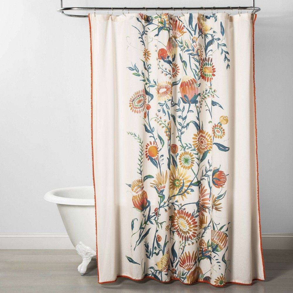 Placed Floral Print With Pom Trim Shower Curtain Opalhouse