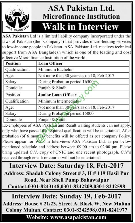 Asa Pakistan Loan Officer Walk In Interview Jobs Micro Finance