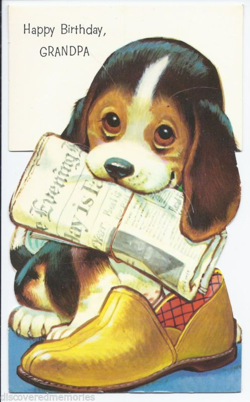 437 Vintage 1960s Beagle Puppy Holding Newspaper Slippers Happy Birthday Card Vintage Greeting Cards Vintage Birthday Vintage Birthday Cards