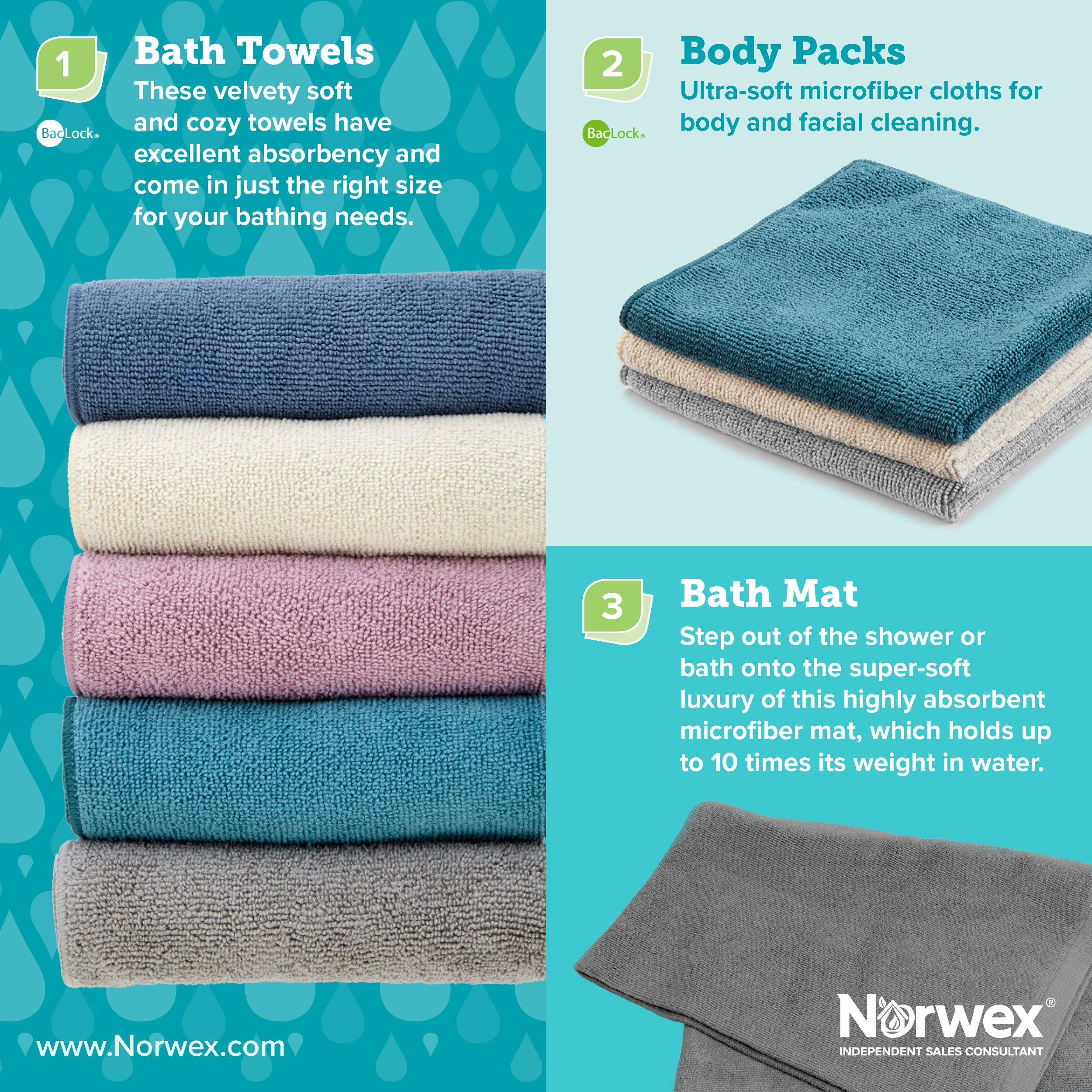 Bath towels Norwex, Norwex
