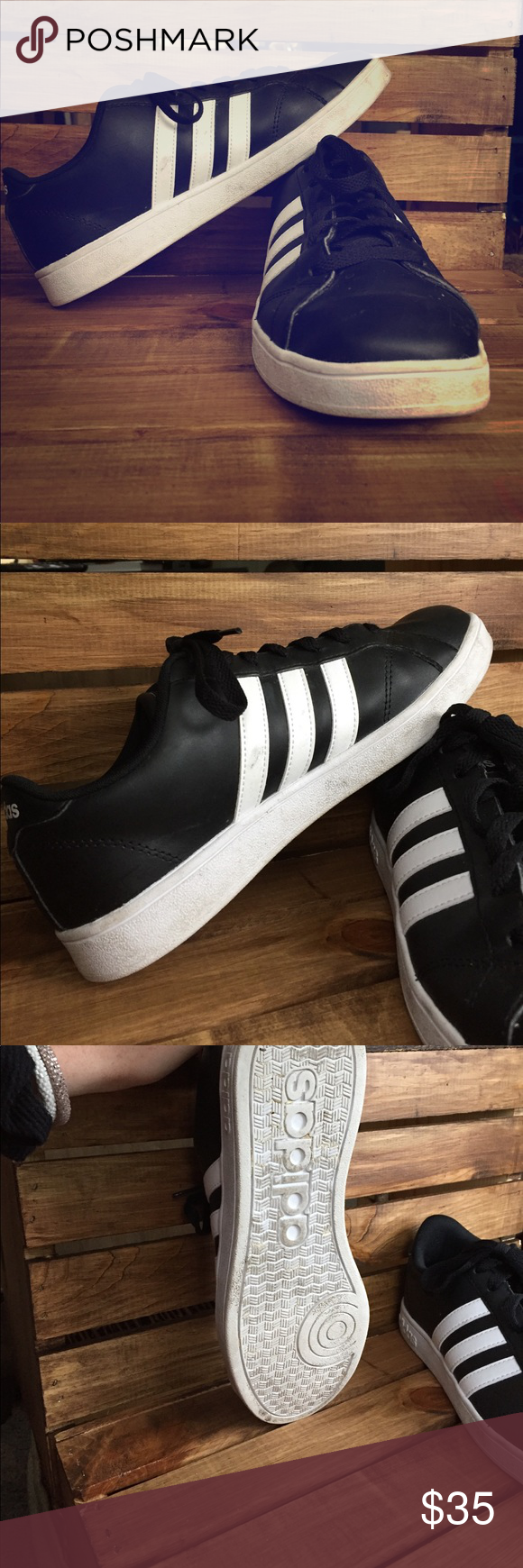Adidas NEO Cloudfoam Advantage Stripe Adidas Neo stripes• black and white• low collar• classic adidas stripes• extremely comfortable• black leather• rubber outsole• round toe• lace-up• size 8 1/2• no damage• worn several times• adidas Shoes Sneakers