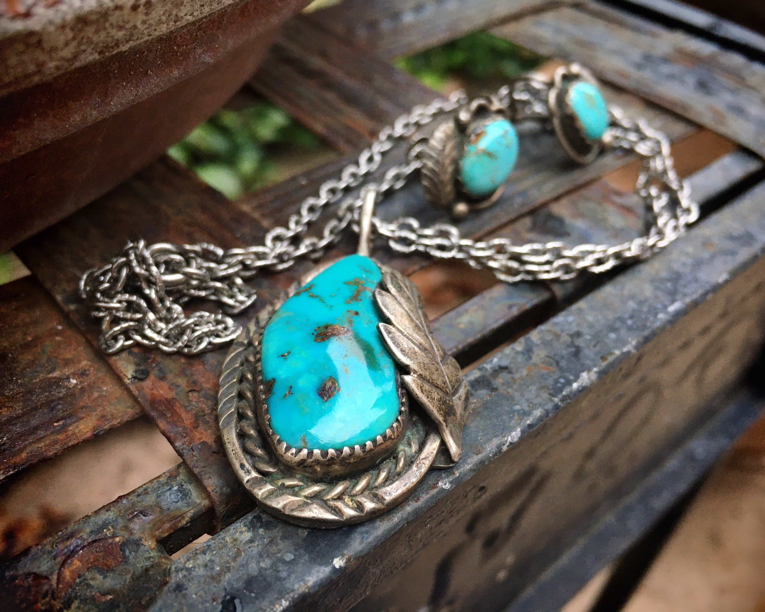 Turquoise Hoop Earrings Natural American Mined Turquoise