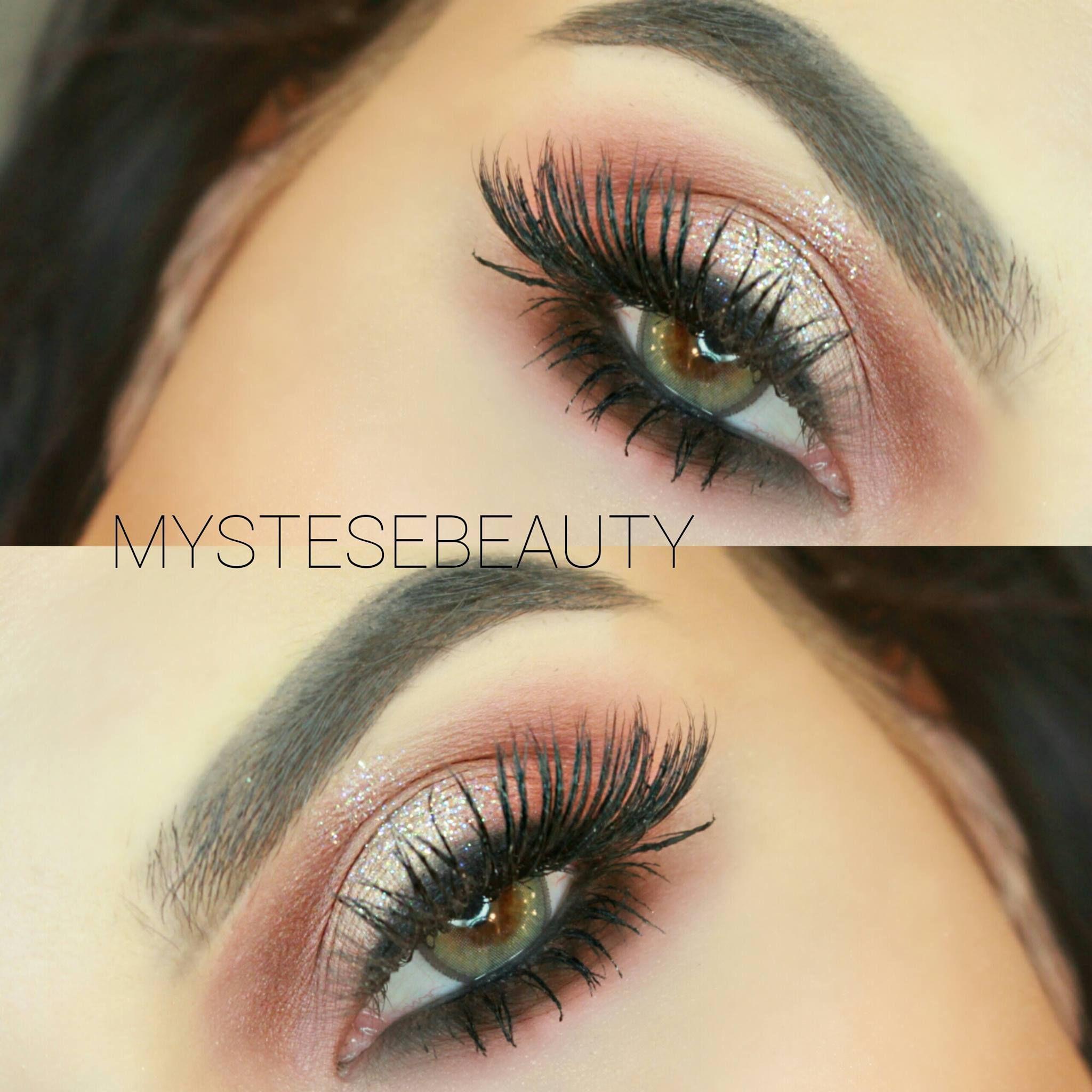 Soft Pink Glam Eye Makeup Tutorial With Subtle Glitter Mink Lashes