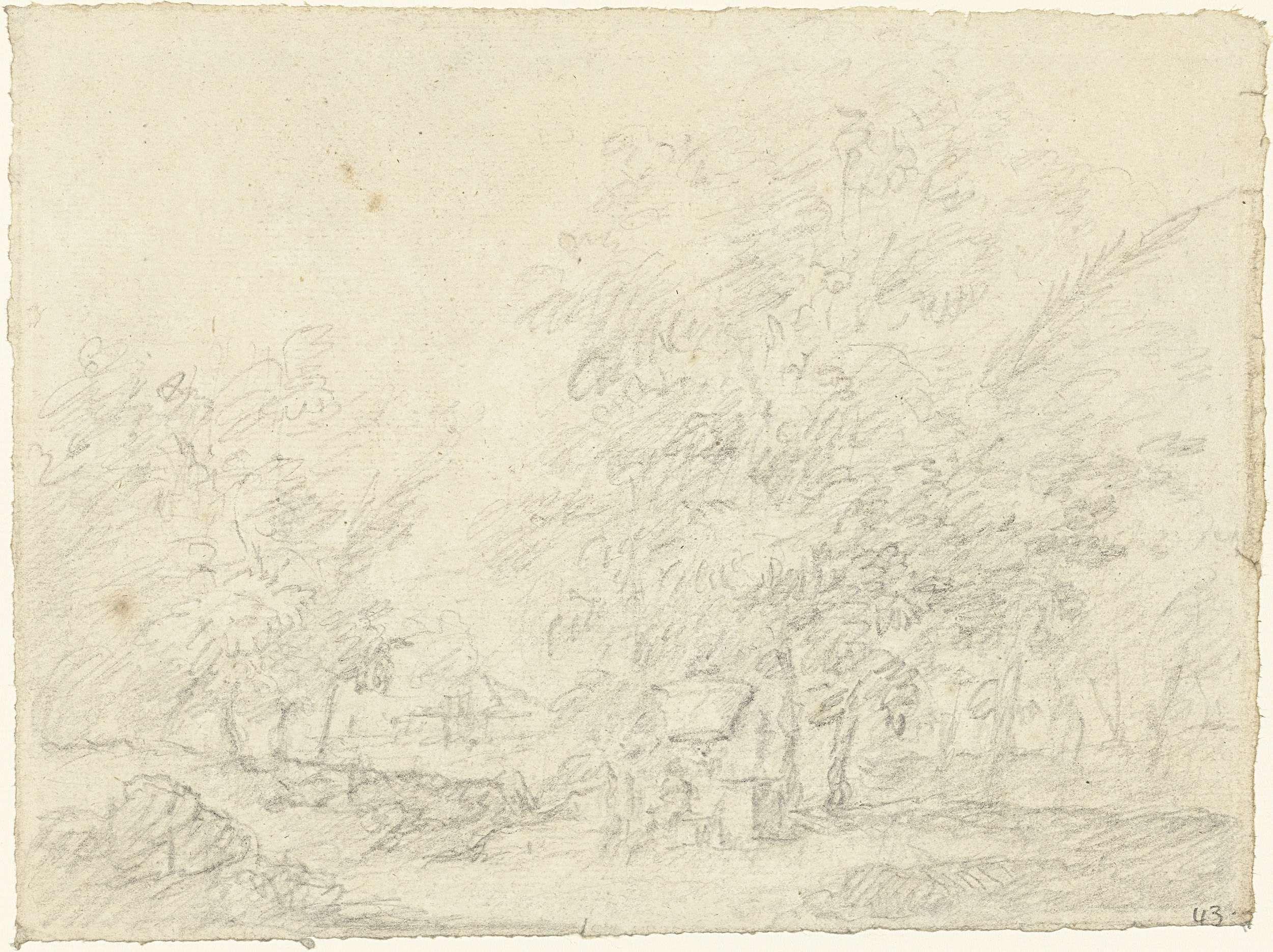 anoniem | Landschap met monument, possibly Dionys van Nijmegen, 1715 - 1798 | Ontwerp voor een schildering.