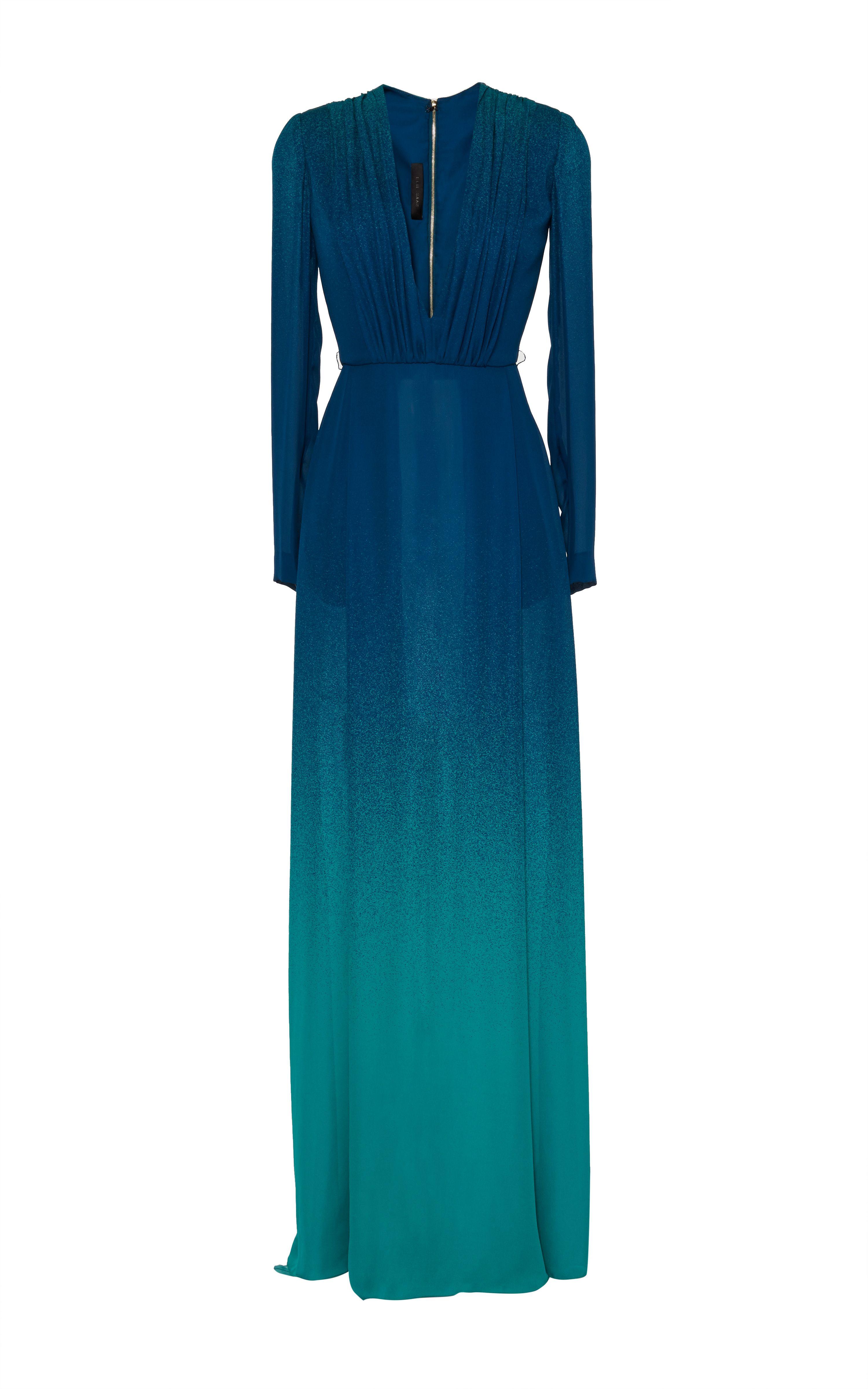 687753cede Blue Degrade Double Silk Georgette Dress by Elie Saab for Preorder on Moda  Operandi