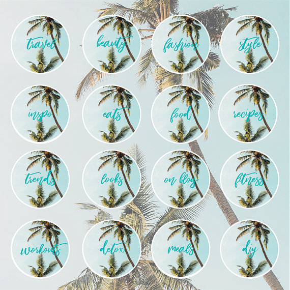 Instagram Story Highlight Template Instagram Highlight Covers Tropical Copper Text Icons Palm Leaves Instagram Icons