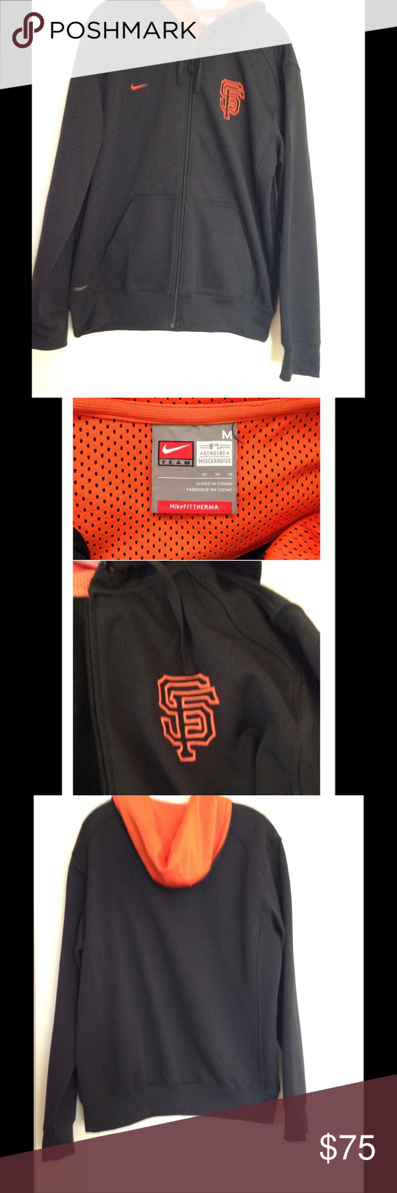 Nike** NWOT ⚾️ San Francisco Giants thermal Jacket Authentic MLB San Francisco Giants FITTherma zip front jacket. Hood with drawstring, side pockets. Sleeves and bottom rib hem. SF Giants, Nike and NikeFit logos. Colors Black with Orange embroidery. Size M. 100% Polyester. Purchased at the Giants Dugout @ AT&T Park. Sorry no Trades Nike Jackets & Coats