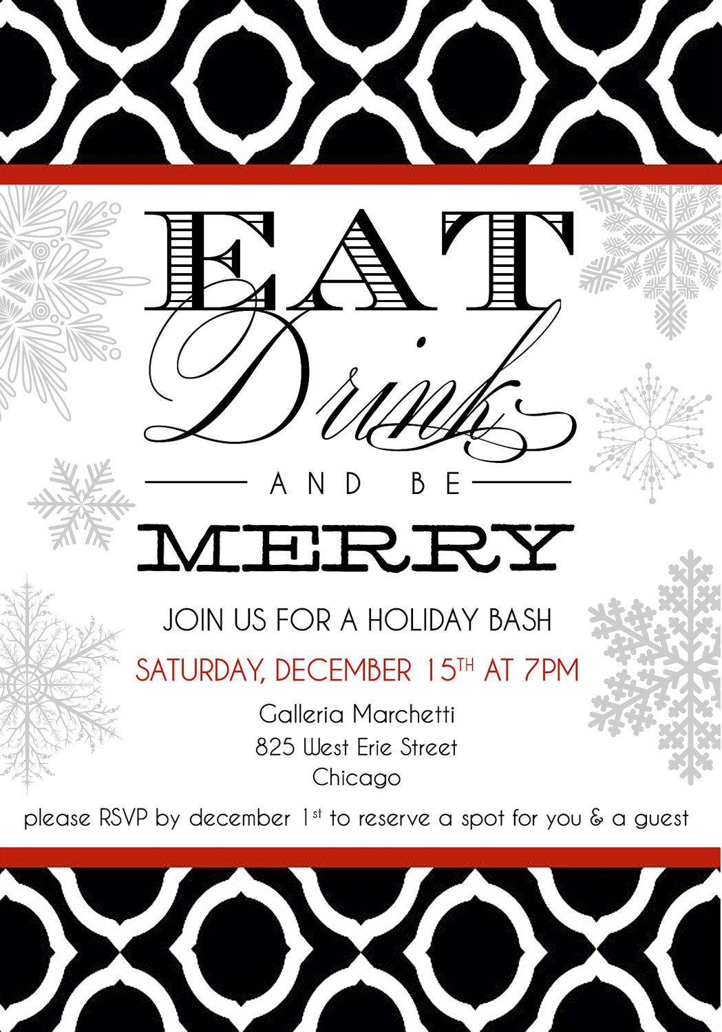 Custom HOLIDAY Party Invitations : Printable. Corporate or Personal ...