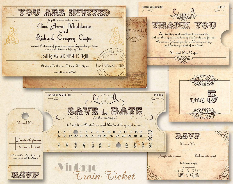 Printable Vintage Wedding Invitations Template Train Ticket Invitation Set 20 00 Via Etsy