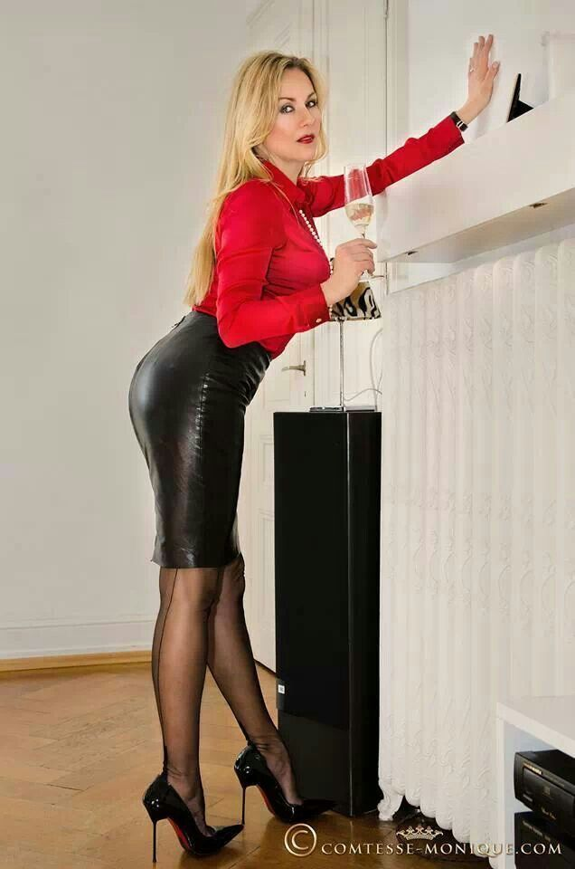 a963a5bafa Red Satin Blouse Black Leather Pencil Skirt Sheer Black Pantyhose and Black  Stiletto High Heels