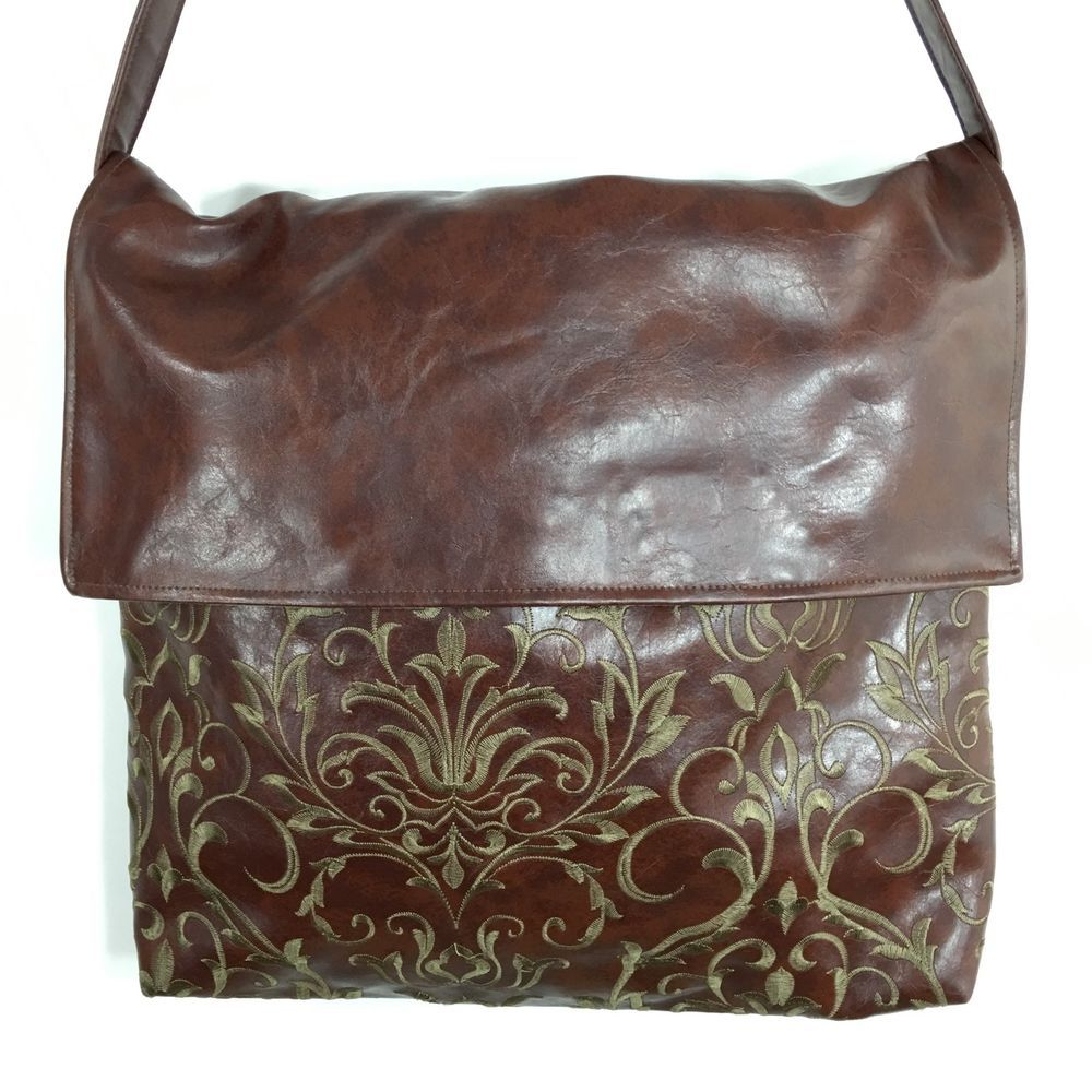 Caught Ya Lookin Brown Faux Leather Embroidered Xl Messenger Tote Diaper Bag Ebay