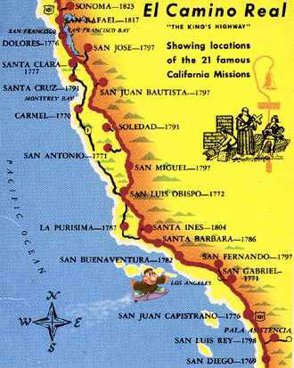 Free Printable Maps Map Of 21 Missions Of California California Missions Alta California California