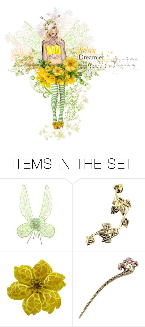 """Fairytale 'Seltea"""" by runarei ❤ liked on Polyvore featuring art, cute, yellow, flower, doll and fairy"