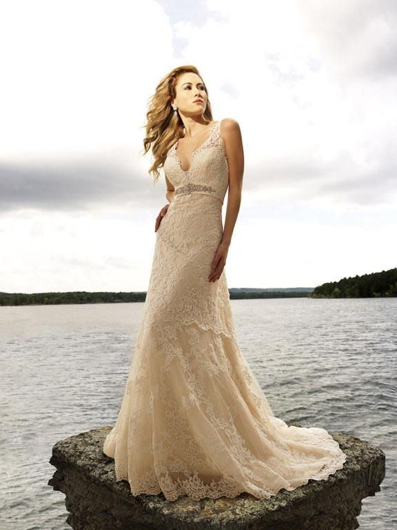 Luxurious lace creates this stunning style.