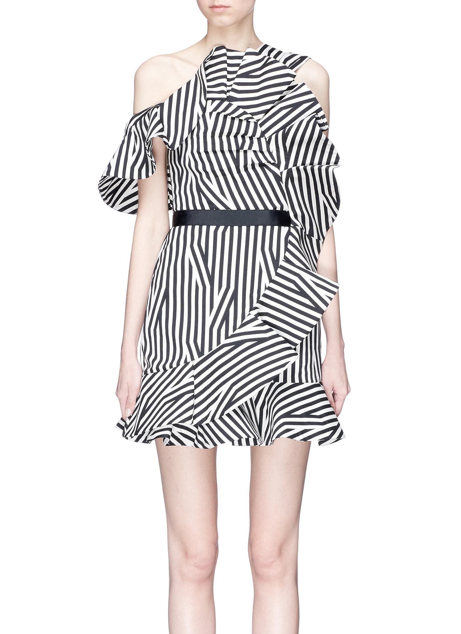 2739b03600a1 self-portrait   Abstract stripe print asymmetric ruffle dress   Women    Lane Crawford