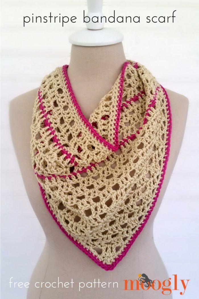 Pinstripe Bandana Scarf - free crochet pattern on Mooglyblog.com ...